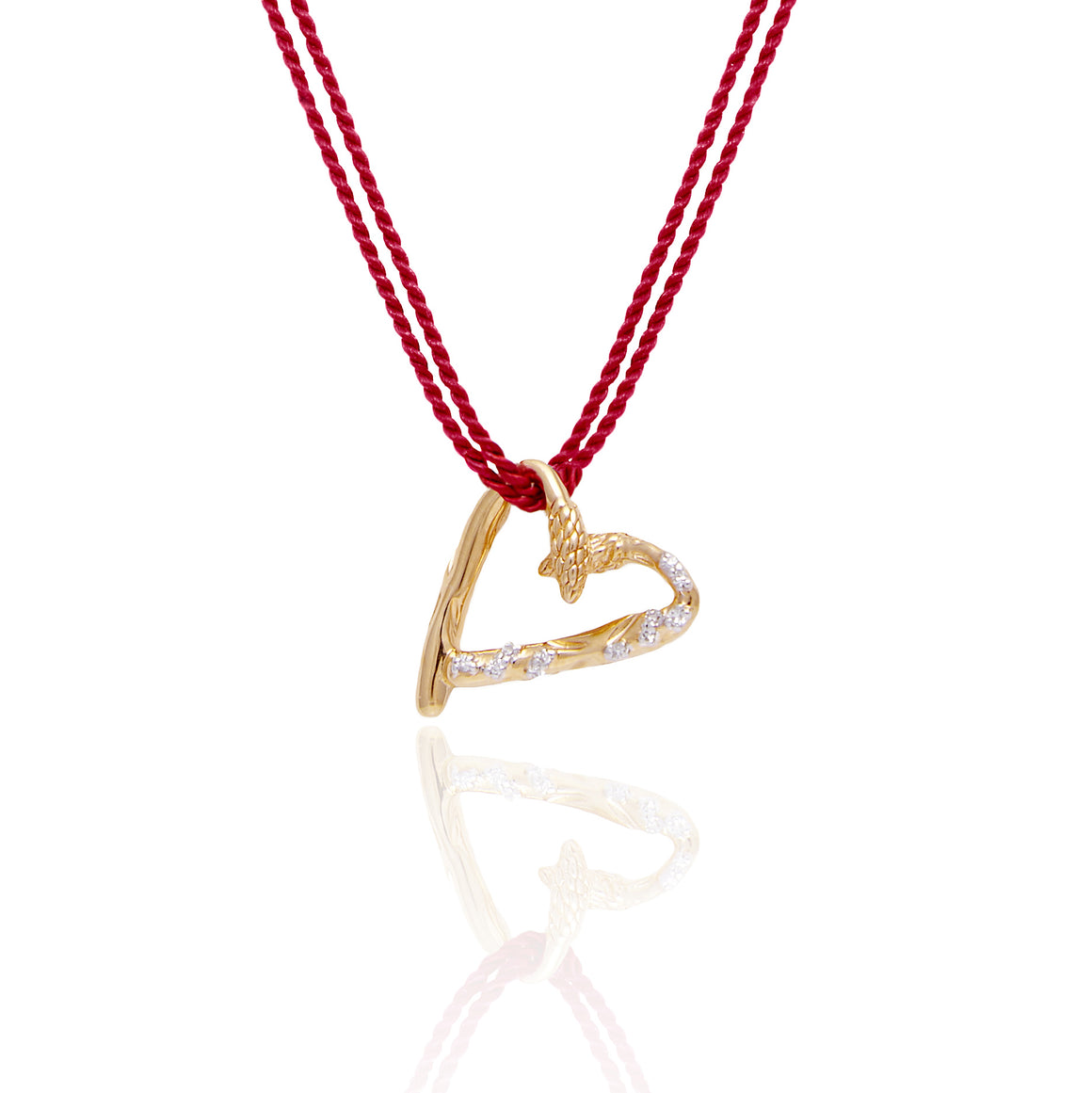 """Heart of a Leader"" Diamond & 23K Gold Vermeil Necklace on Red Silk Cord"