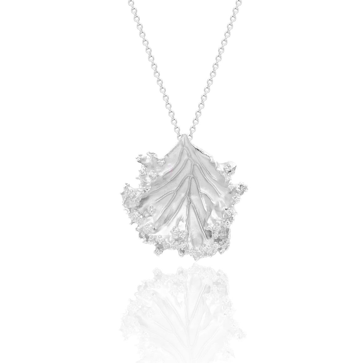 """Kale-ibrate Equality"" Diamond & Sterling Silver Necklace on Silver Chain"