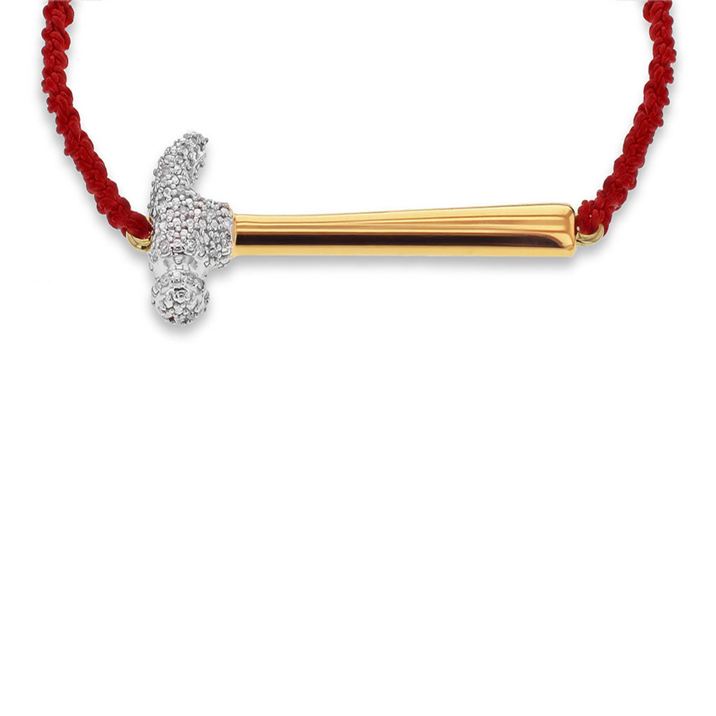 """Hammer Home Your Message"" Diamond & 23K Gold Vermeil Bracelet on Adjustable Red Silk Cord"