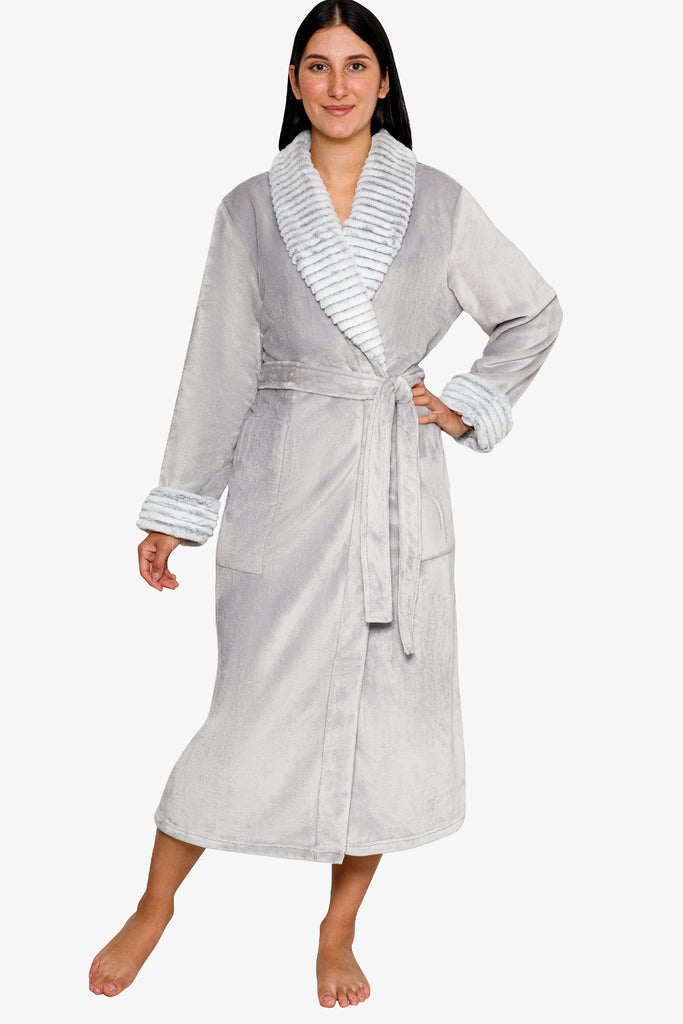 JNY - Plush Robe with Fur Trim