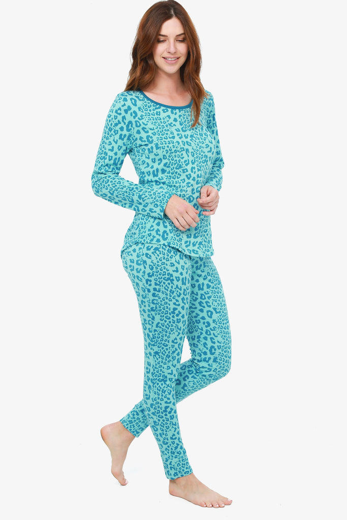 JNY - Leopard Pajama Set (Teal) - CozyAndCurious