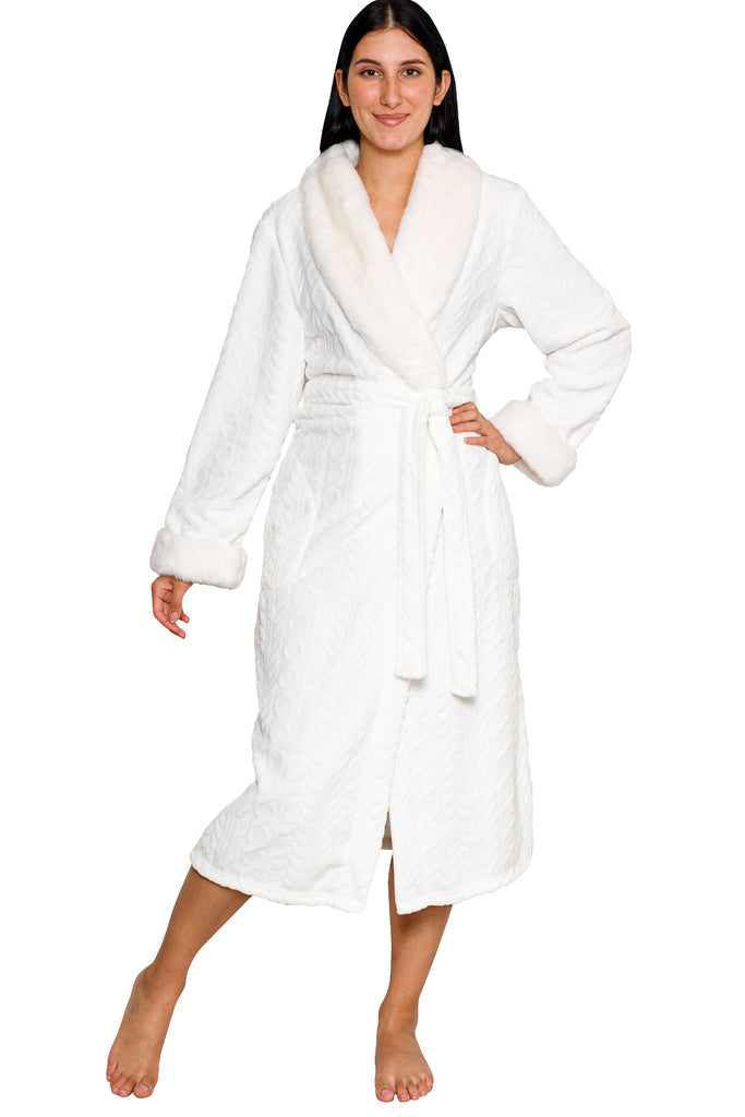 JNY - Royal  Plush Robe w/Faux Mink Trim