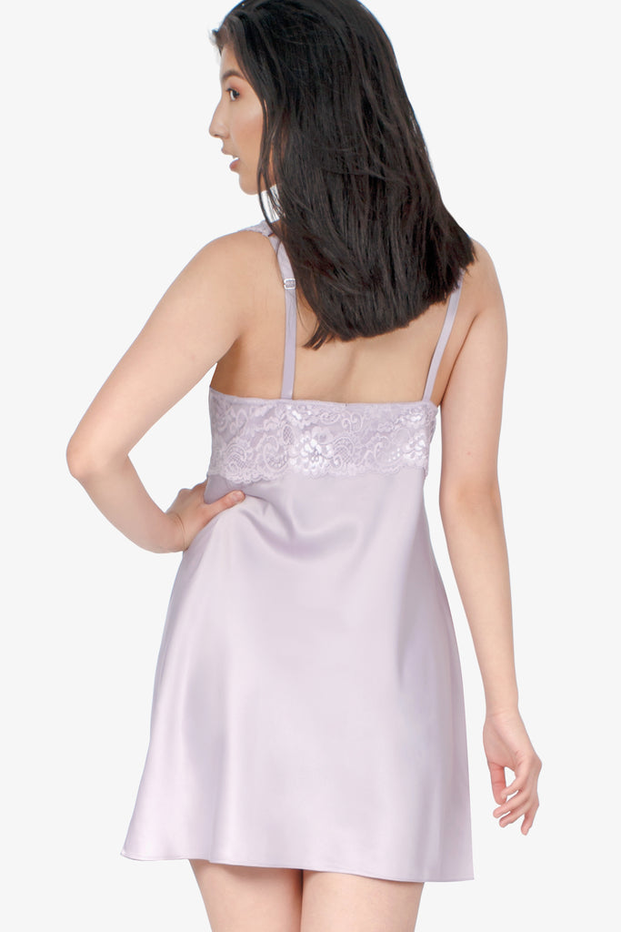 JNY - Short Satin Nightie With Lace (Lilac) - CozyAndCurious