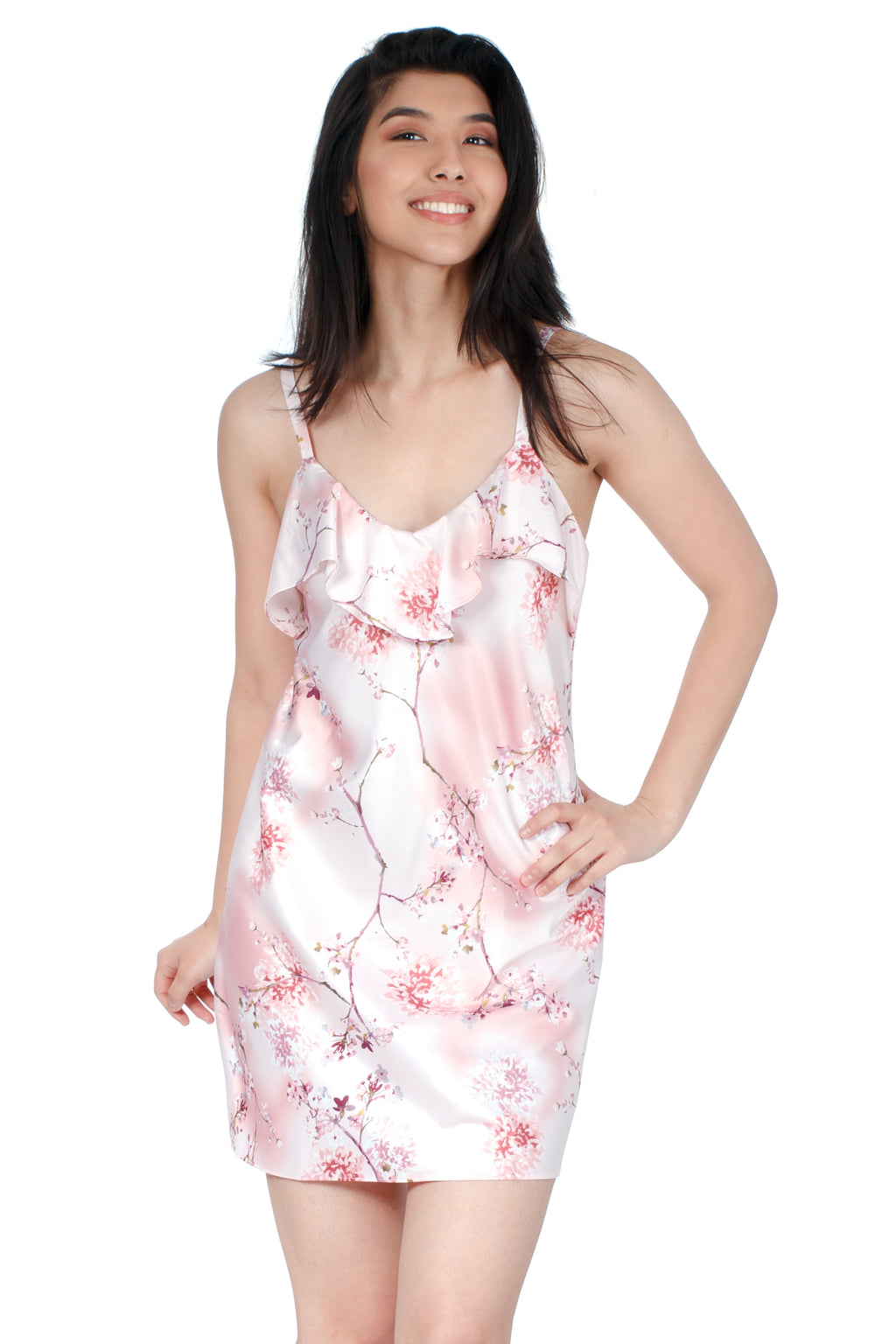 "34"" All Over Print Floral Satin Chemise - CozyAndCurious"