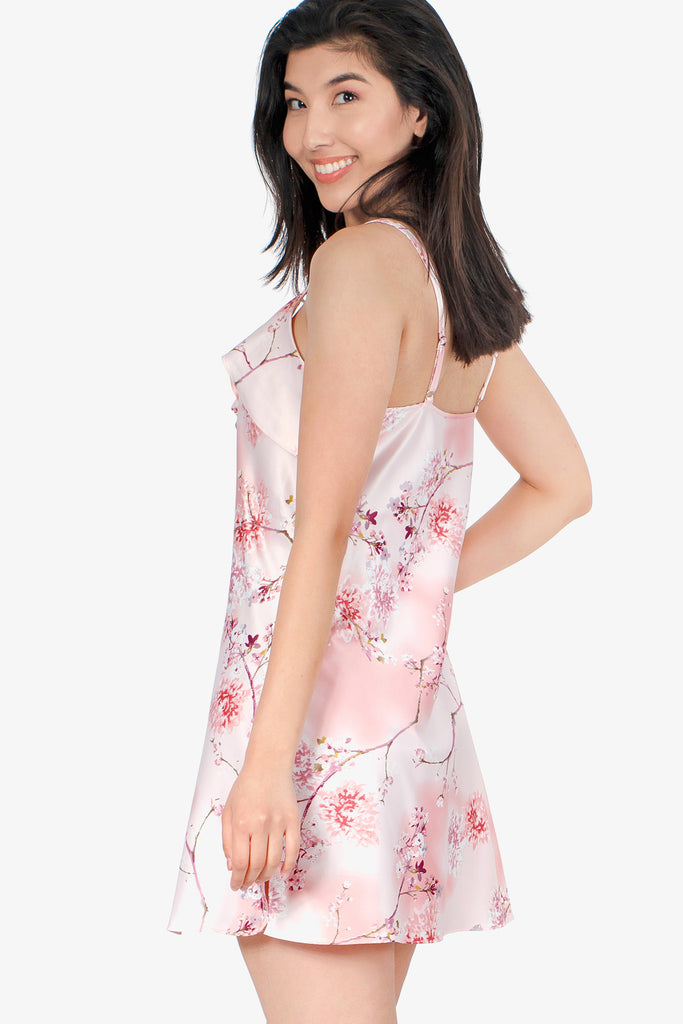 JNY - Short Satin Nightie (Floral Rose) - CozyAndCurious