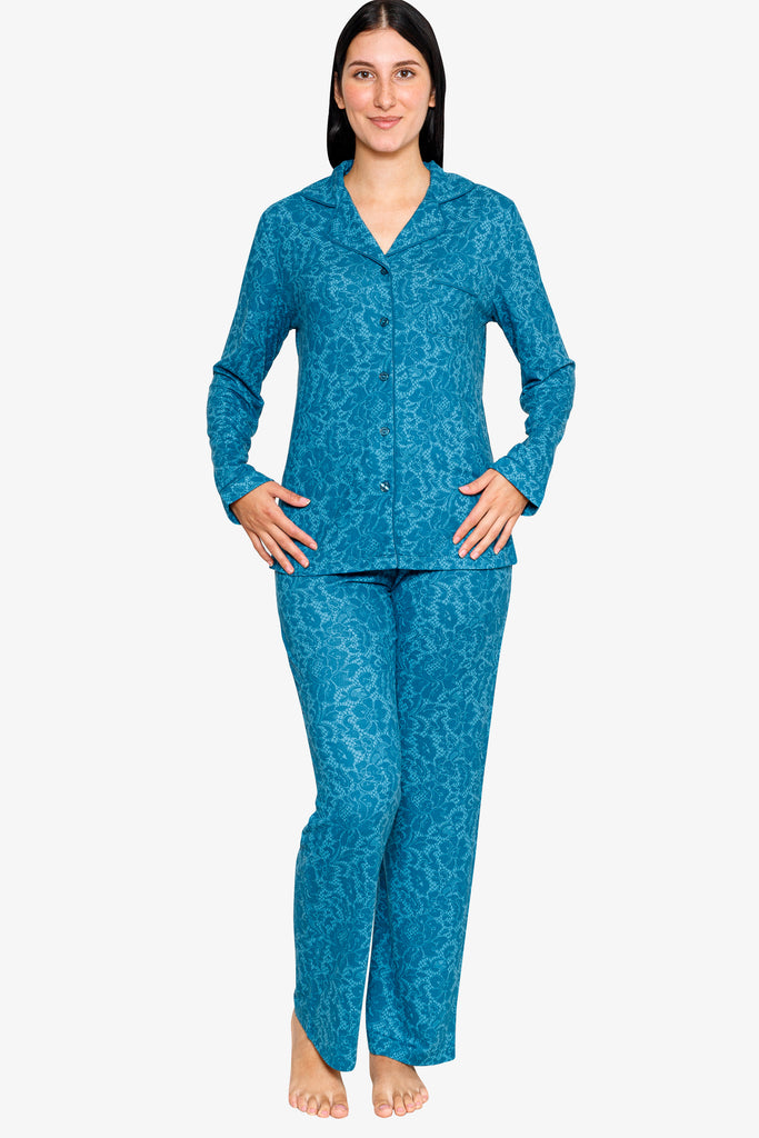 BEAUTIFULLY PRINTED NOTCH COLLAR  PAJAMA