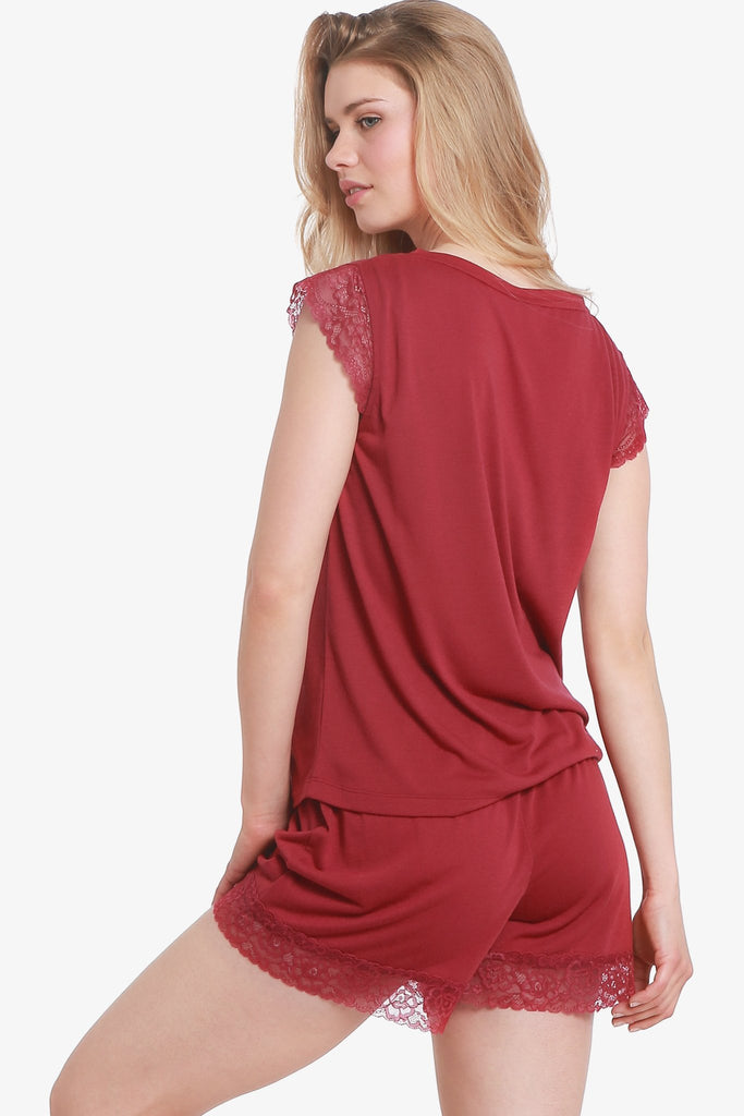 JNY - Lacey Cap Sleeve Pajama Top Only (Beaujolais) - CozyAndCurious