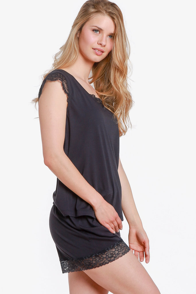 JNY - Lacey Cap Sleeve Pajama Top Only (Vulcan) - CozyAndCurious