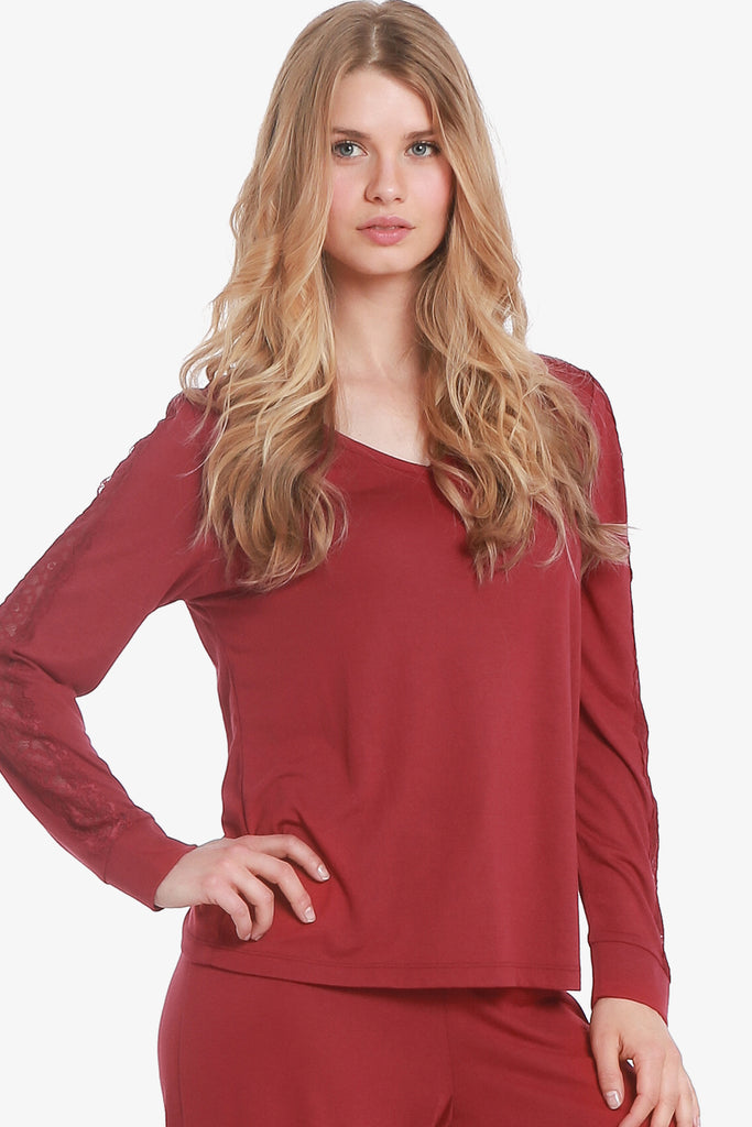 JNY - Lacey Long Sleeve Pajama Top Only (Beaujolais) - CozyAndCurious