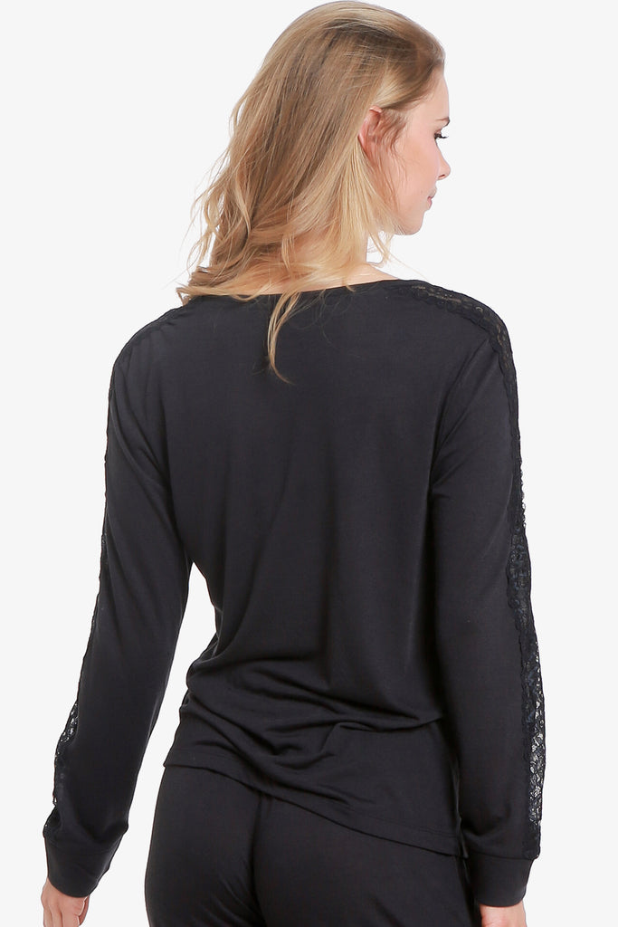 JNY - Lacey Long Sleeve Pajama Top Only  (Vulcan) - CozyAndCurious