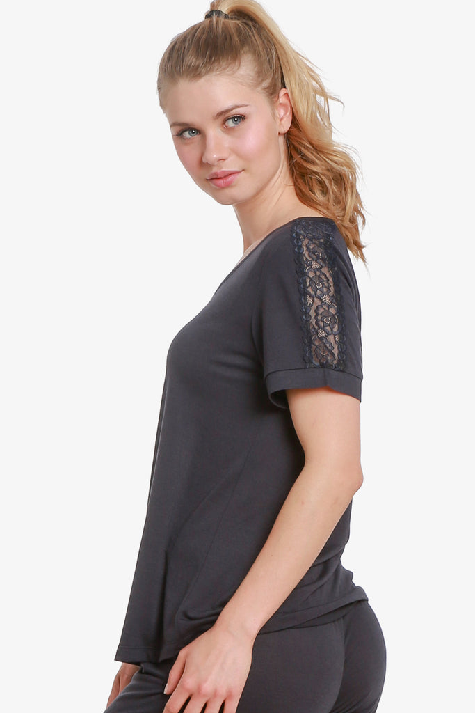 Lacey Short Sleeve Pajama Top Only (Vulcan) - CozyAndCurious
