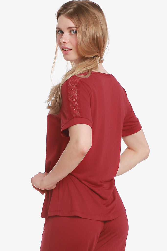 Lacey Short Sleeve Pajama Top Only (Beaujolais) - CozyAndCurious