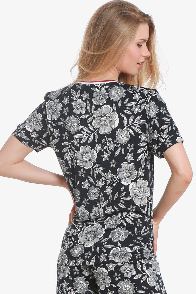 JNY - Floral Short Sleeve Pajama Top Only (Vulcan Graphic) - CozyAndCurious