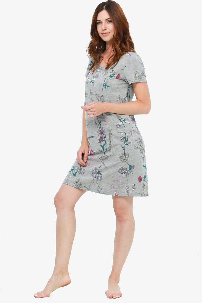 JNY - Printed Jersey Nightshirt (Grey Botanical) - CozyAndCurious