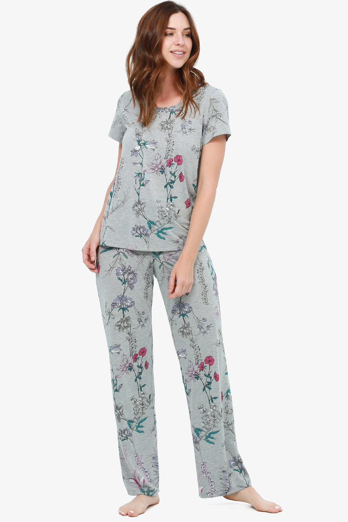JNY - Printed Jersey Pajama Set (Grey Botanical) - CozyAndCurious