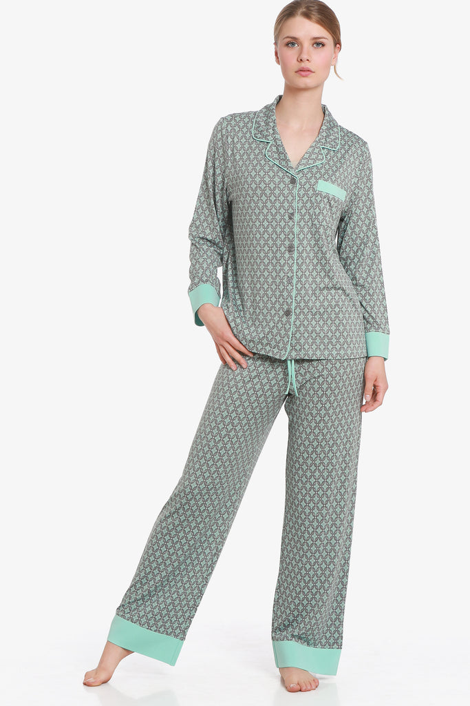JNY - Glacier Pajama Set (Aqua / Grey) - CozyAndCurious