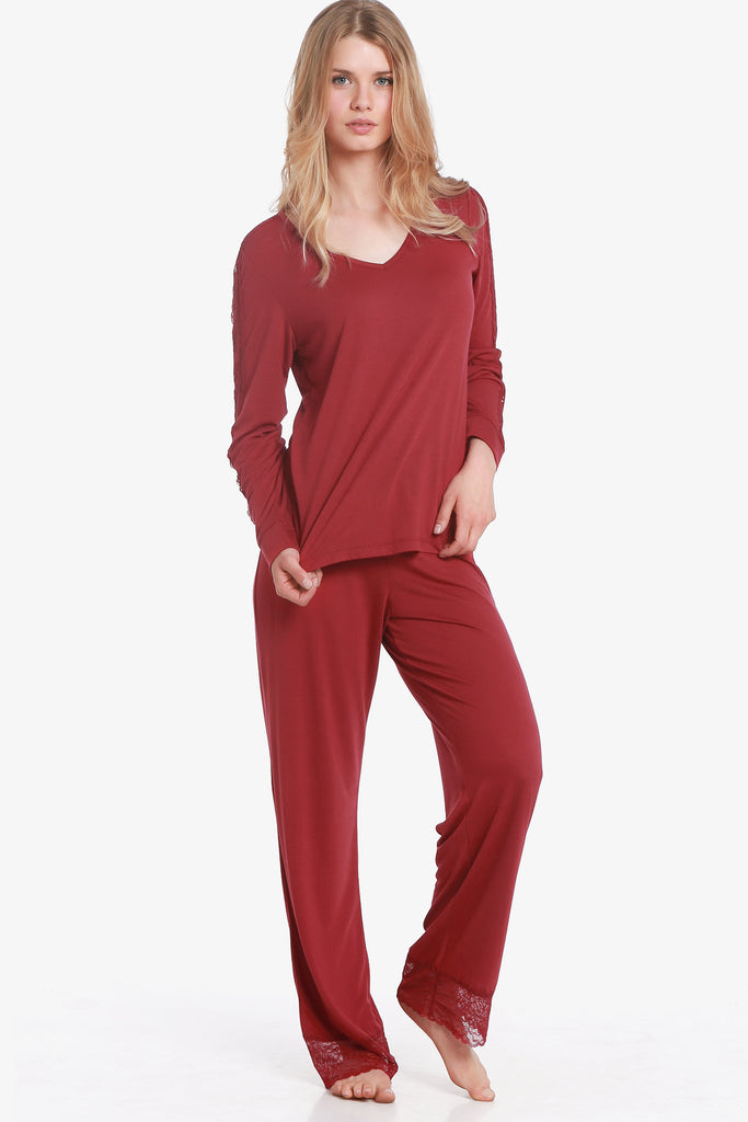 JNY - Lacey Pajama Set (Beaujolais) - CozyAndCurious