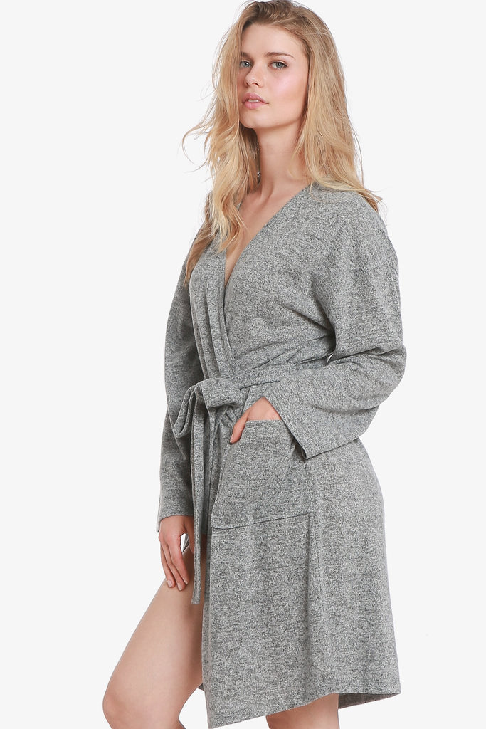 JNY - The Brushed Knit Hacci Robe (Grey) - CozyAndCurious