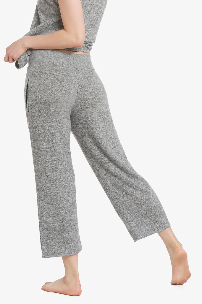 JNY - Brushed Knit Hacci Capri Pajama Pants (Grey) - CozyAndCurious