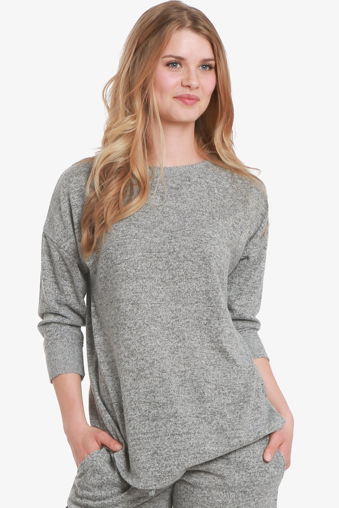 JNY - Brushed Knit Hacci 3/4 Sleeve Pajama Top Only (Grey) - CozyAndCurious