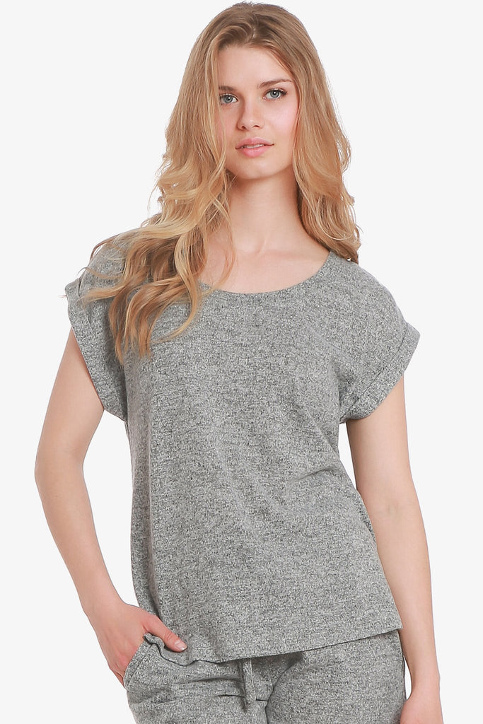 JNY - Brushed Knit Hacci Short Sleeve Pajama Top Only (Grey) - CozyAndCurious