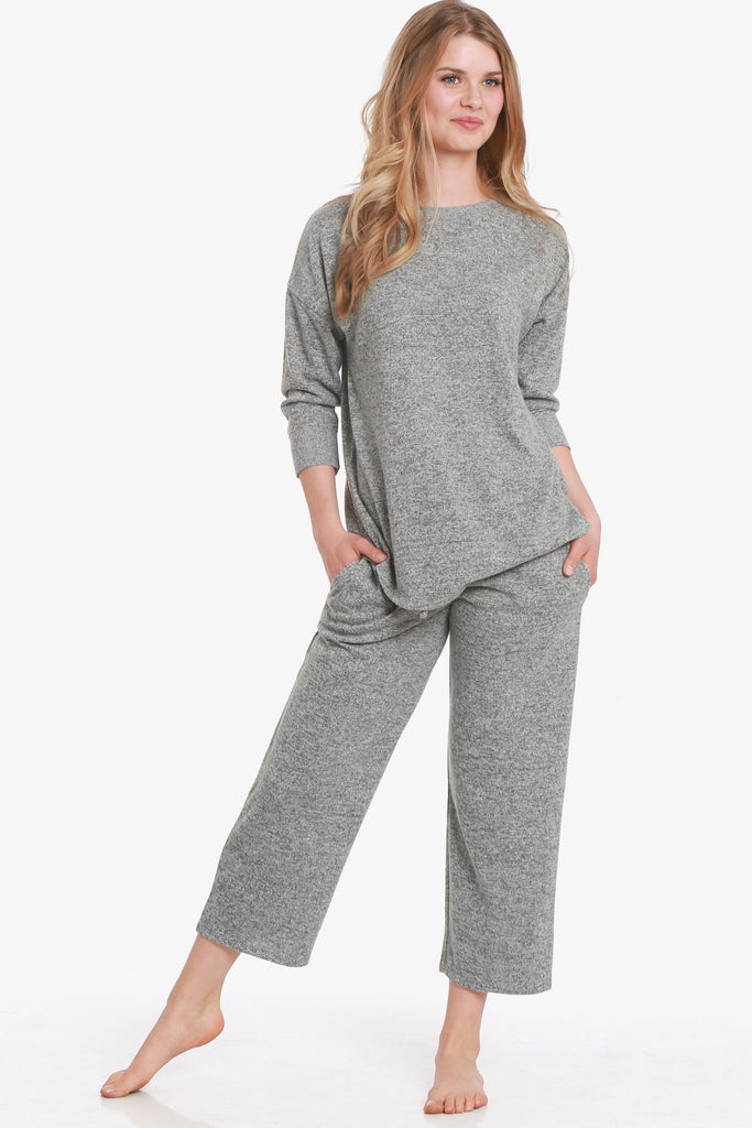 JNY - Brushed Knit Hacci Capri Pajama Set (Grey) - CozyAndCurious