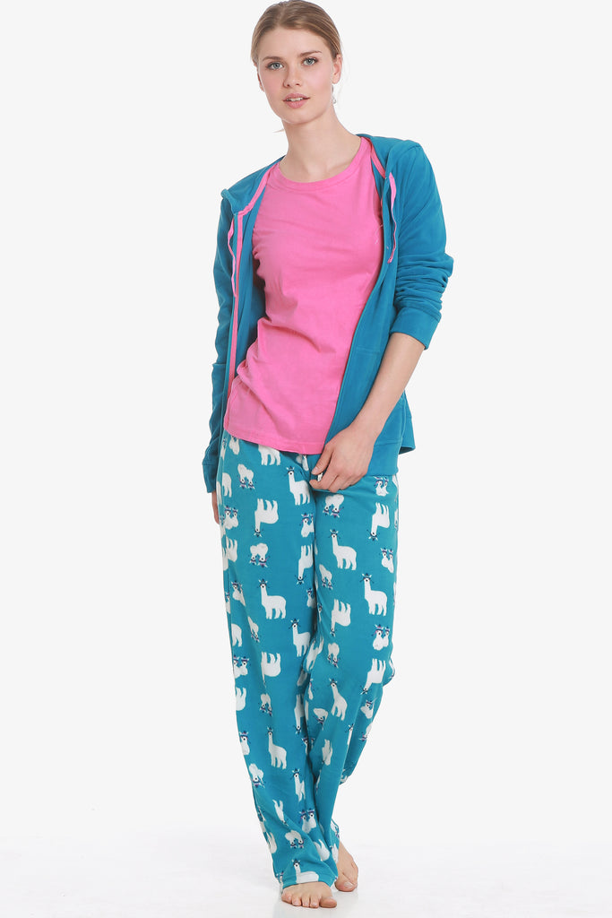 Alpaca 3 Piece Pajama Set (Turquoise) - CozyAndCurious