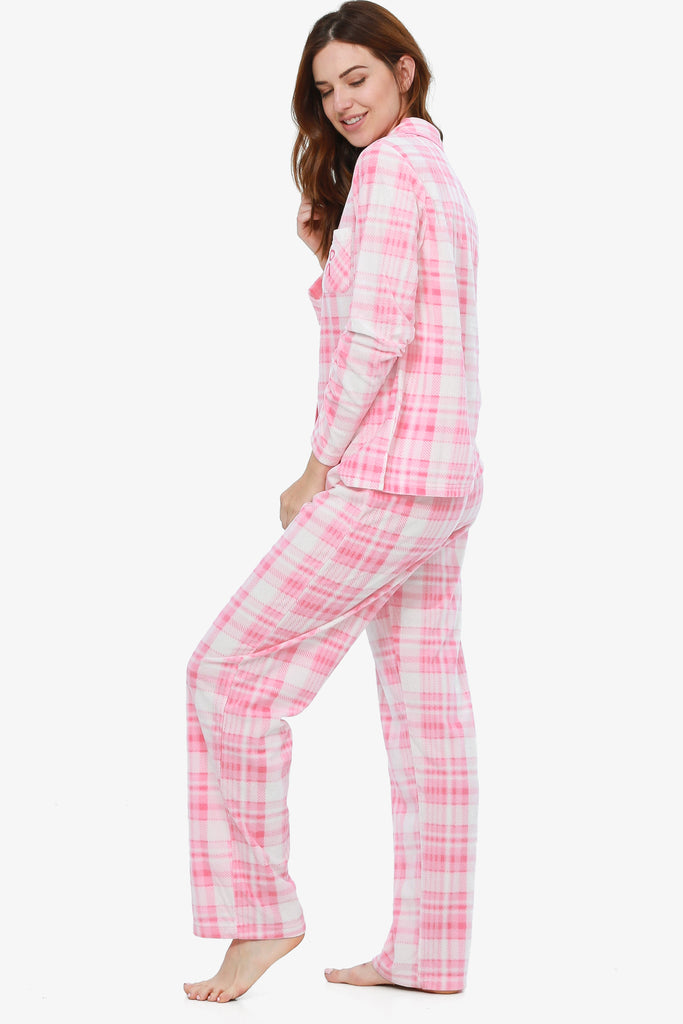 Breast Cancer Awareness Plaid Pajama Set (First Blush) - CozyAndCurious