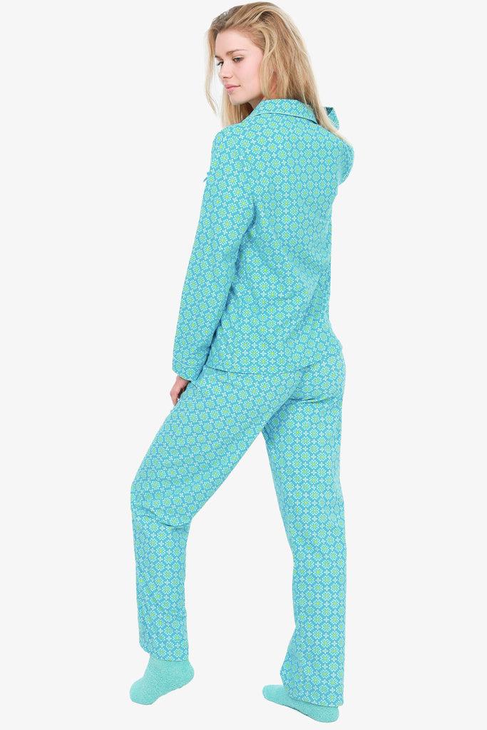 FLANNEL PAJAMA SET WITH SOCKS (TURQUOISE)