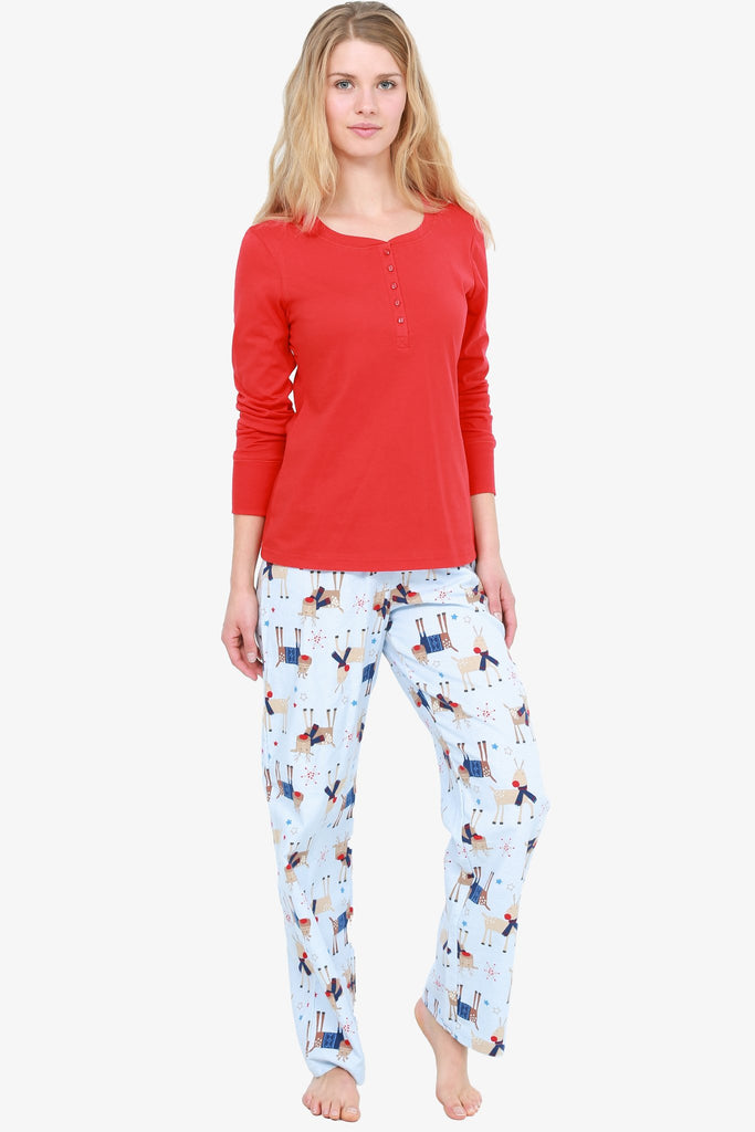Reindeer Pajama Set (Red / Blue)