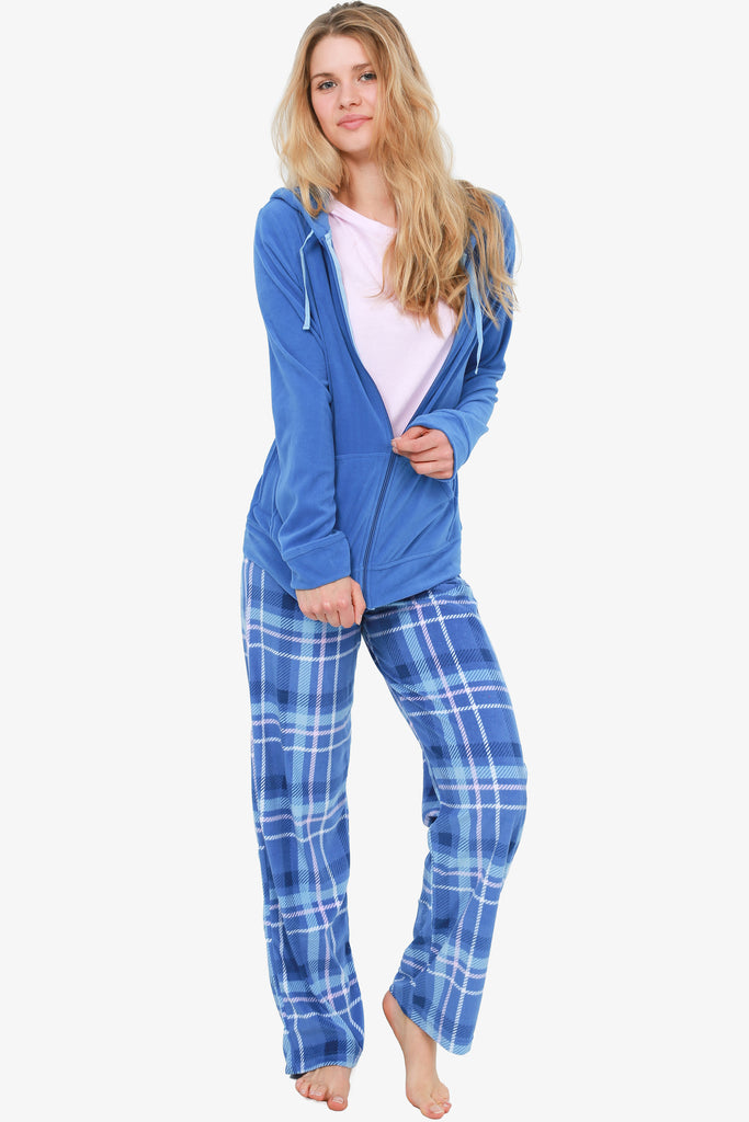 Plaid 3 Piece Pajama Set (Blue) - XL Only