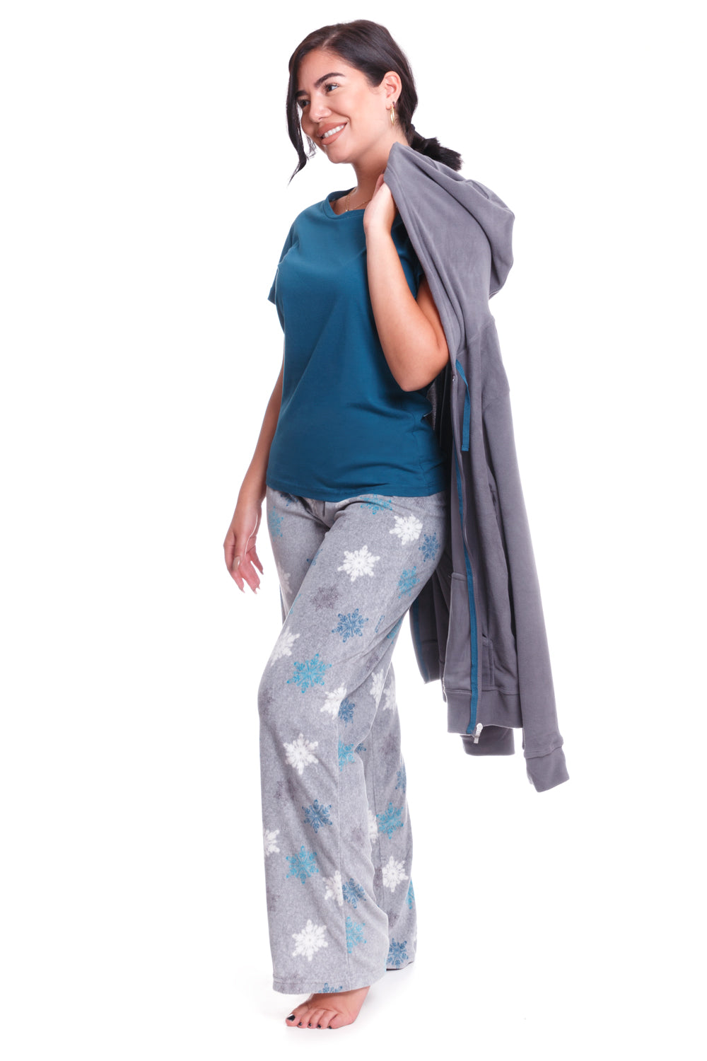 Charcoal Snowflake 3 Piece Pajama Set - CozyAndCurious