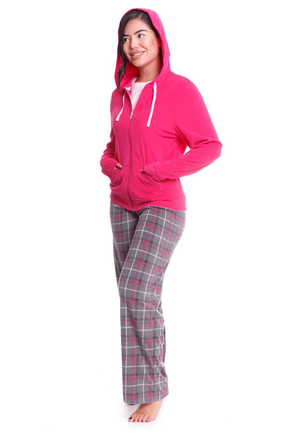 Bittersweet Pink Plaid 3 Piece Pajama Set - CozyAndCurious