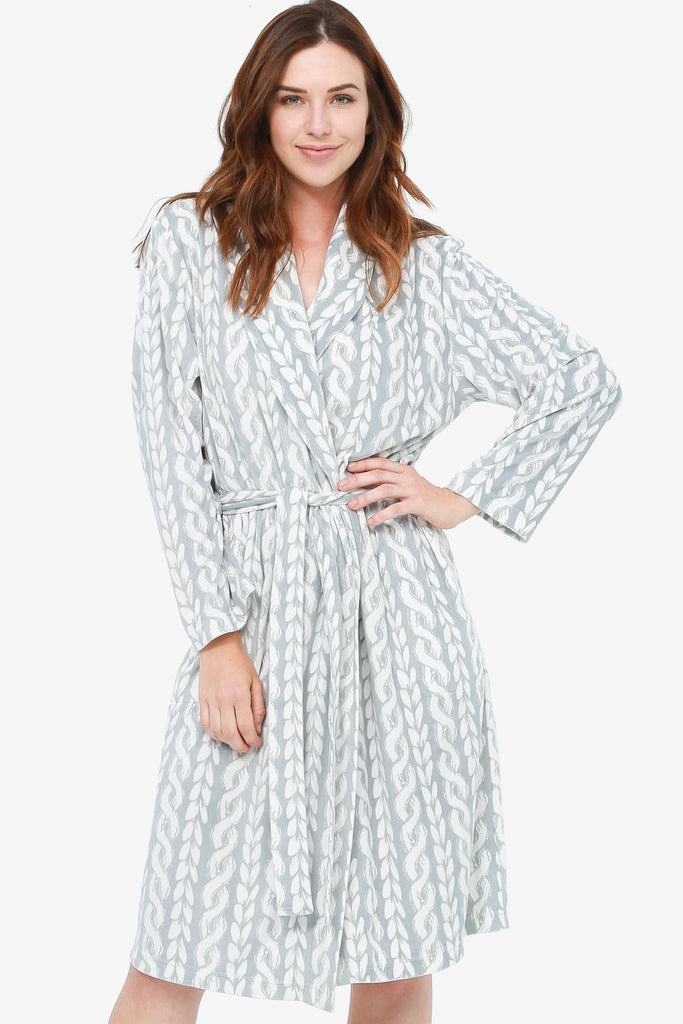 The Torsade Printed Velvety Microplush Robe (Grey) - CozyAndCurious