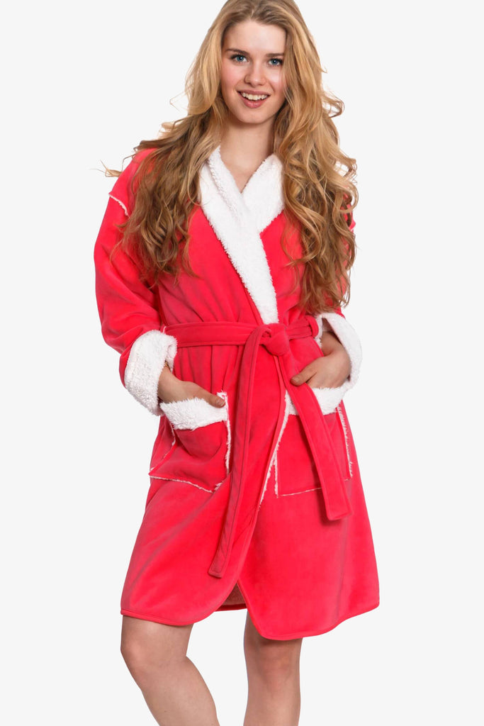 Suede Feel Fabric Robe with Sherpa Lining (Pink)