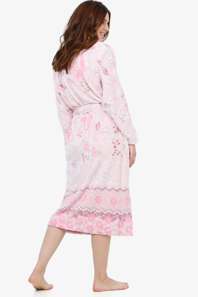 The Floral Burnout Robe (Soft Coral) - CozyAndCurious
