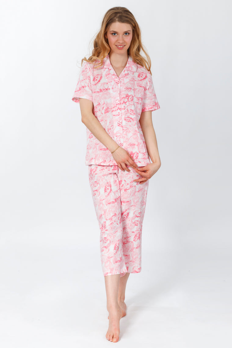 Paisley Print 100% Cotton Pajama Set - White/Pink