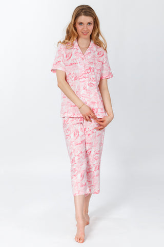 Diamond Print Jersey Pajama Set - Soft Aqua