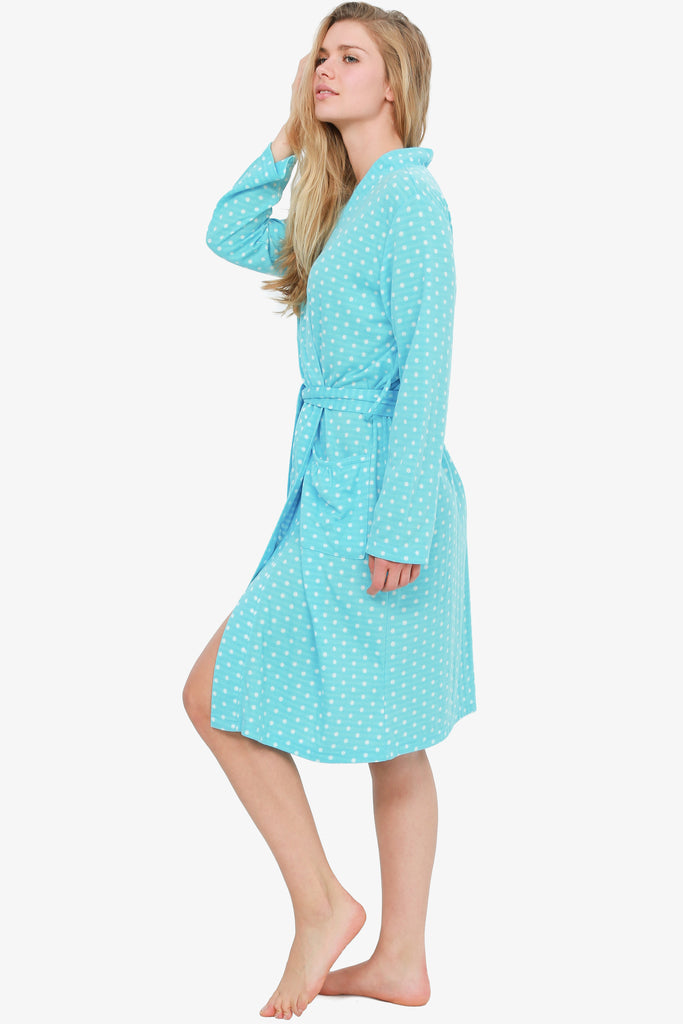 Button Blue Polka Dot Robe (Blue)