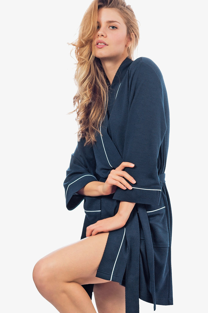 JNY - The Knit Honeycomb Kimono Spa Robe (Navy) - CozyAndCurious