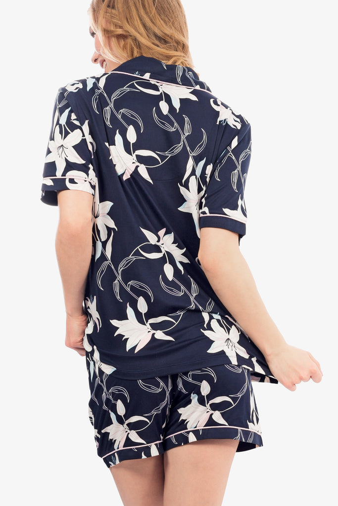 JNY - Floral Shorts Set (Navy) - CozyAndCurious