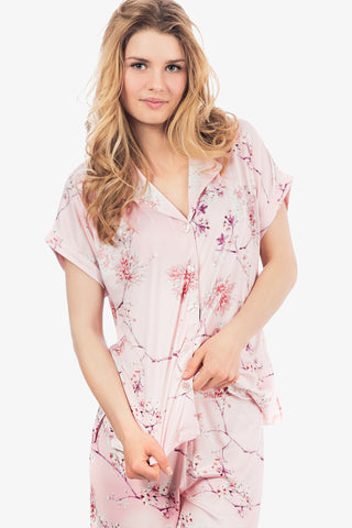 Capri Knit Pajama Set (Floral Rose) - CozyAndCurious