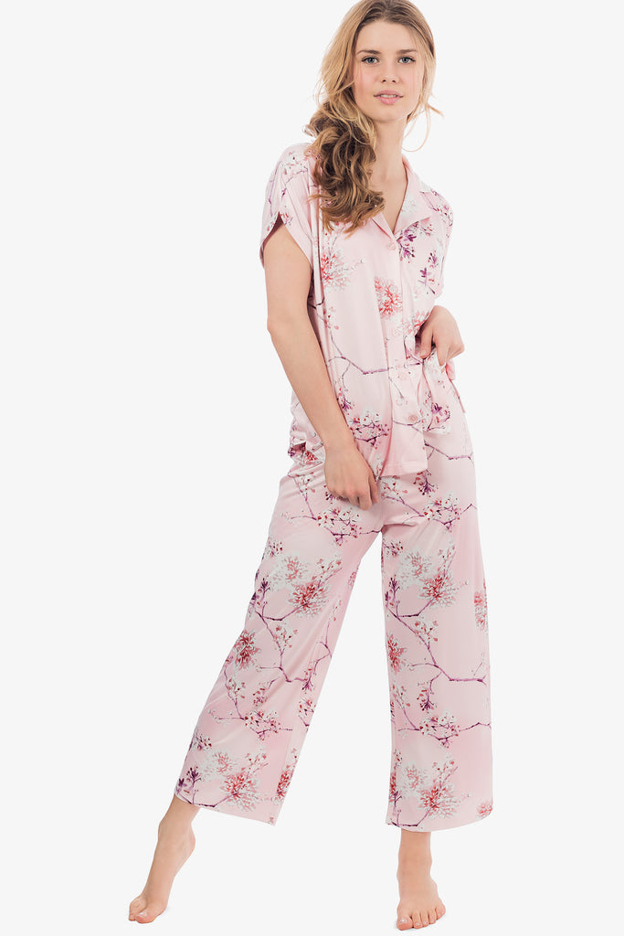 JNY - Capri Knit Pajama Set (Floral Rose) - CozyAndCurious