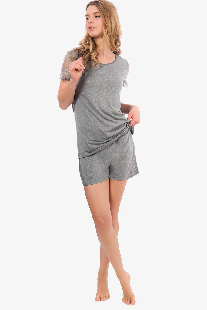 JNY - Lacey Shorts Set (Grey) - CozyAndCurious