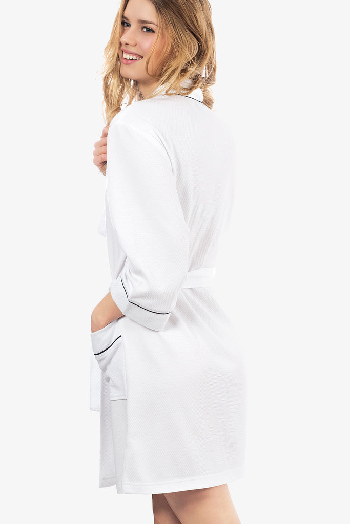 JNY - The Knit Honeycomb Kimono Spa Robe (White) - CozyAndCurious