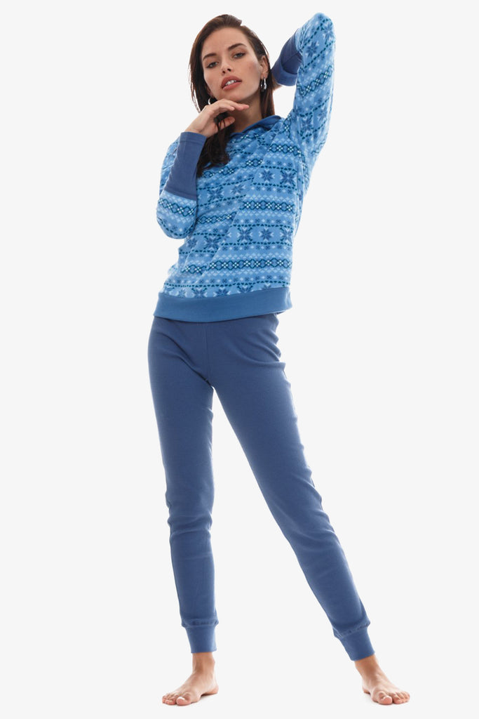 The Cozy Hoodie 2-Piece Pajama Set (Blue )