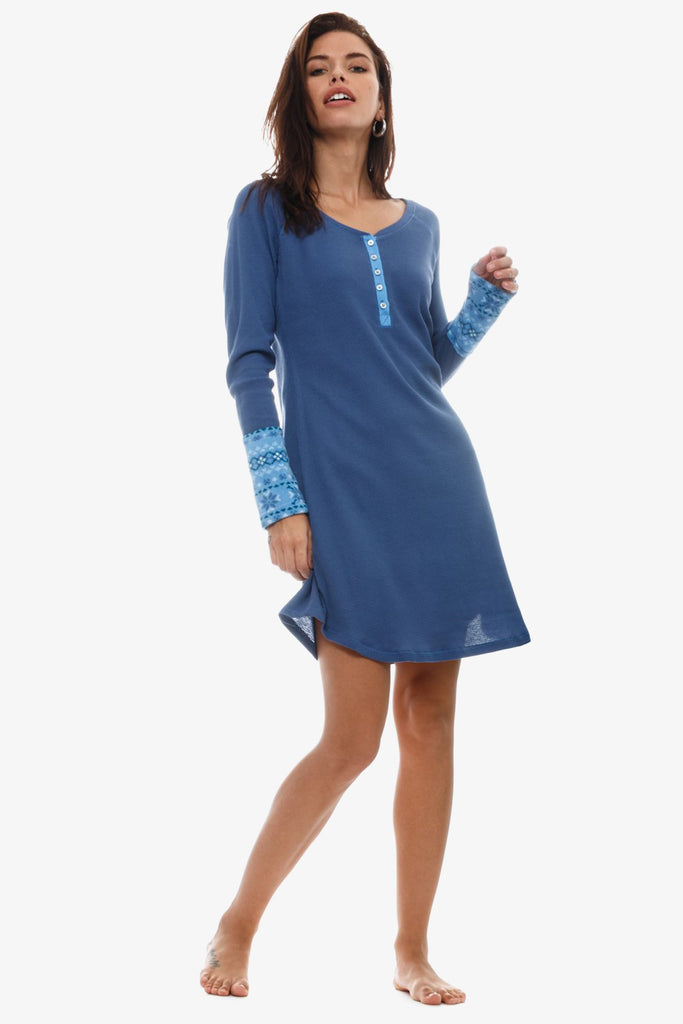 The Cozy Thermal Nightshirt (Blue)