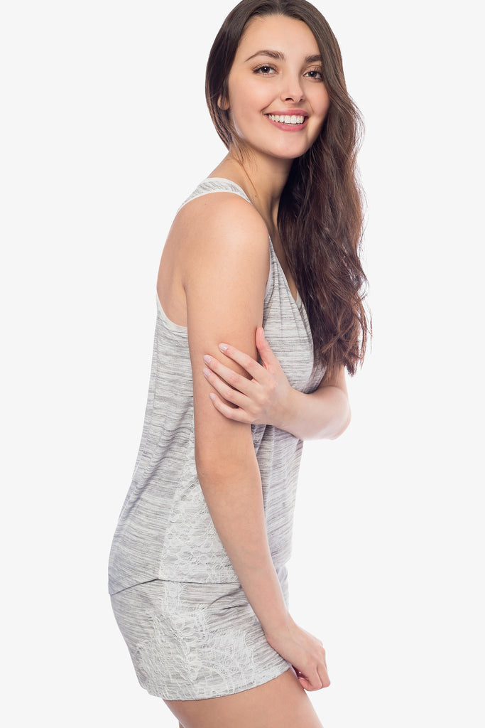 JNY - Space Dyed Tank Top and Shorts Set (Grey) - CozyAndCurious