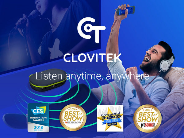 CloviTek wifi audio streaming and wireless audio transmission for a TV