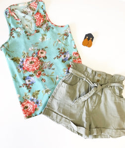 Mint Waffle Weave Floral Tank